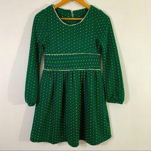 Women Green Cute Mini Dress Long Sleeves with Square Dot
